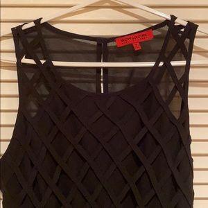 Black lattice romper with open back